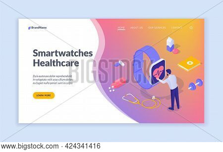 Smart Watch With Health Monitoring. Digital Monitoring Cardiac Load. Man Analyzes His Pulse On Scree