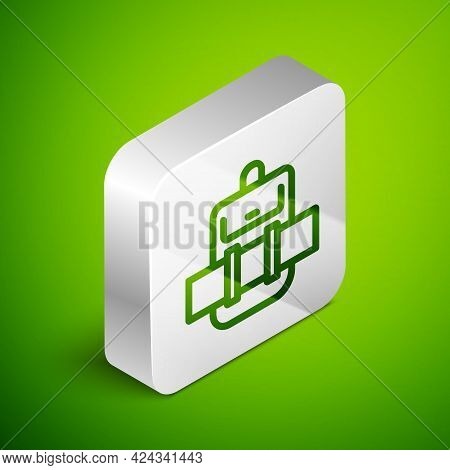 Isometric Line Hiking Backpack Icon Isolated On Green Background. Camping And Mountain Exploring Bac