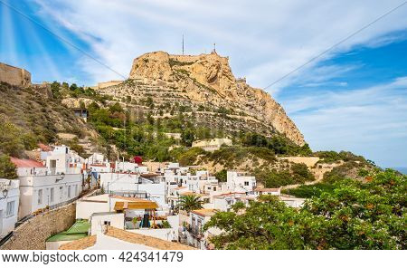 Alicante Old Town And Santa Barbara Castle On Benacantil Hill. Narrow Streets And White Houses On Hi