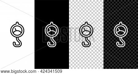 Set Line Spring Scale Icon Isolated On Black And White Background. Balance For Weighing. Determinati