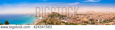 Panorama Of Alicante Town, Beach, Sea Port And Santa Barbara Castle On Benacantil Hill From Serra Gr