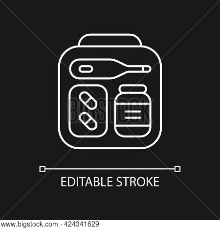 Mini First Aid Kit White Linear Icon For Dark Theme. Emergency Bag With Medication For Trip. Thin Li