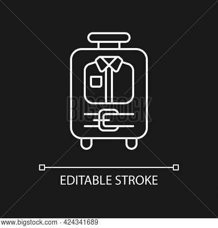 Open Suitcase With Clothing White Linear Icon For Dark Theme. Garments And Apparel In Baggage. Thin