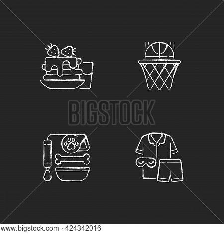 Daily Student Routine Chalk White Icons Set On Dark Background. Breakfast Pancakes. Basketball Club.