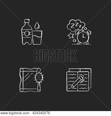 Daily Schedule And Routine Chalk White Icons Set On Dark Background. Watter Bottle. Sleep Time. Alar