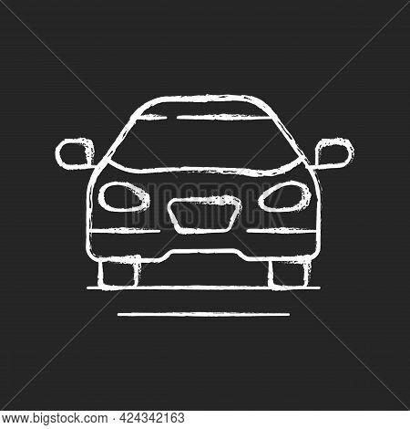 Sedan Car Chalk White Icon On Dark Background. Fast Personal Transport. Hybrid Auto For Family Trips