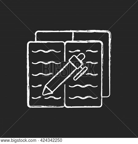 Homework Chalk White Icon On Dark Background. Textbook With Text And Pen For Writing. Notebook With