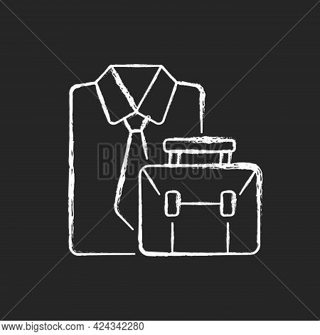 Formal Clothing And Briefcase Chalk White Icon On Dark Background. Professional Worker Outfit And Ba