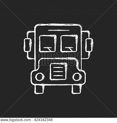 School Bus Chalk White Icon On Dark Background. Transportation For Students. Automobile To Drive Pup
