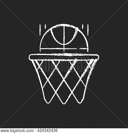 Basketball Chalk White Icon On Dark Background. Team Sport For Exercise. Scoring Goal With Shooting