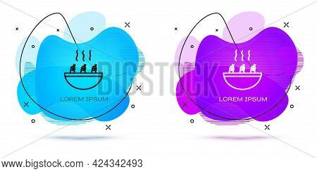 Line Soup With Shrimps Icon Isolated On White Background. Tom Yum Kung Soup. Abstract Banner With Li