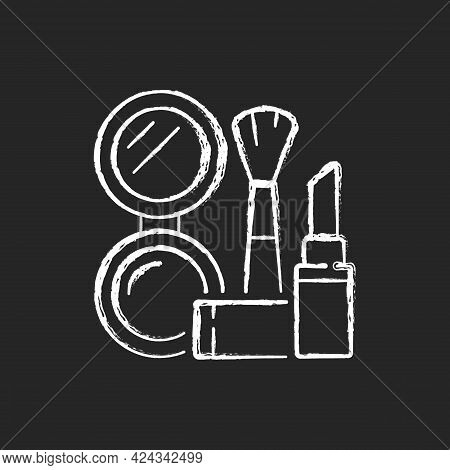 Makeup Chalk White Icon On Dark Background. Cosmetic Products. Female Skincare. Lipstick And Powder