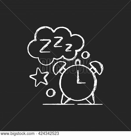 Sleep Time Chalk White Icon On Dark Background. Alarm Clock. Watch Dial With Nighttime. Countdown To