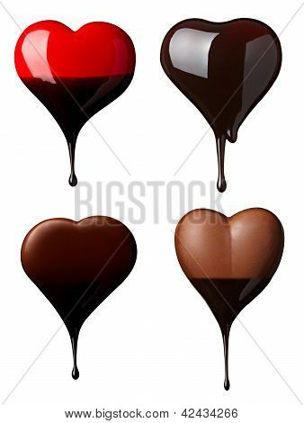 Chocolate Heart Love Dessert Pieces Sweet Food