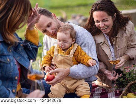 Happy Multigeneration Family Outdoors Having Picnic In Backyard Garden, Laughing.
