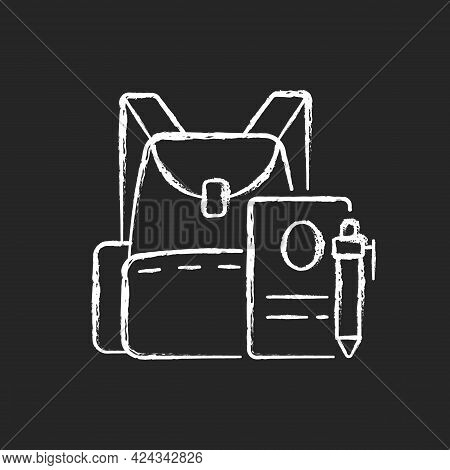 Backpack Chalk White Icon On Dark Background. Preparing For School Classes. Schoolbag With Notebook