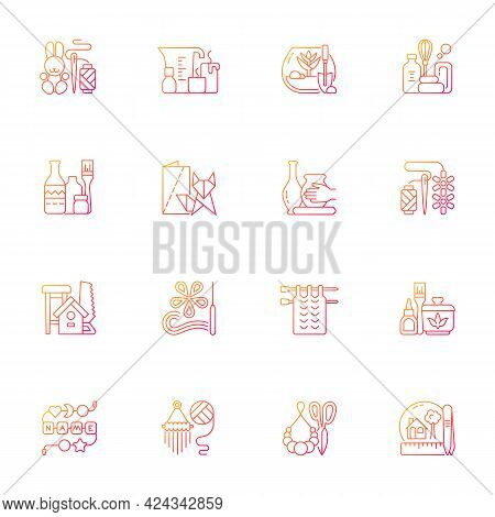 Trending Hobbies Gradient Linear Vector Icons Set. Home Business. Boho Style. Craft Activity. Creati