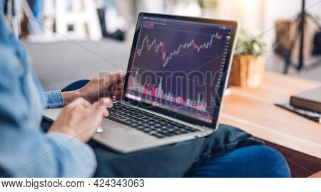 Successful Of Young Business Trader Asian Woman Trading Graph Of Stock Market Investment Selling And