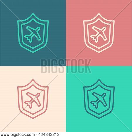 Pop Art Line Plane With Shield Icon Isolated On Color Background. Flying Airplane. Airliner Insuranc