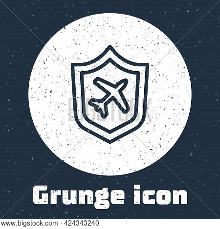 Grunge Line Plane With Shield Icon Isolated On Grey Background. Flying Airplane. Airliner Insurance.