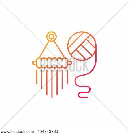 Yarn Wall Hangings Gradient Linear Vector Icon. Boho Style. Handmade Pieces For Decoration. Macrame