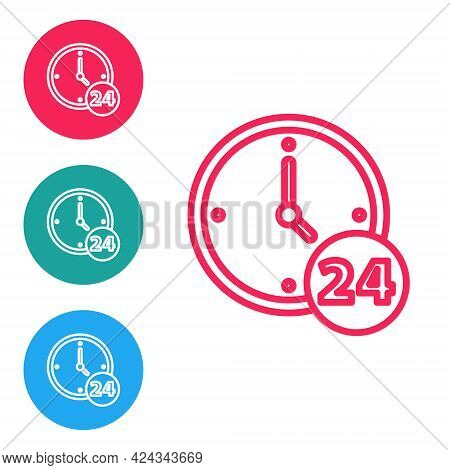 Red Line Clock 24 Hours Icon Isolated On White Background. All Day Cyclic Icon. 24 Hours Service Sym