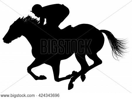 Black Silhouette Of A Jockey Galloping A Horsevector Illustration