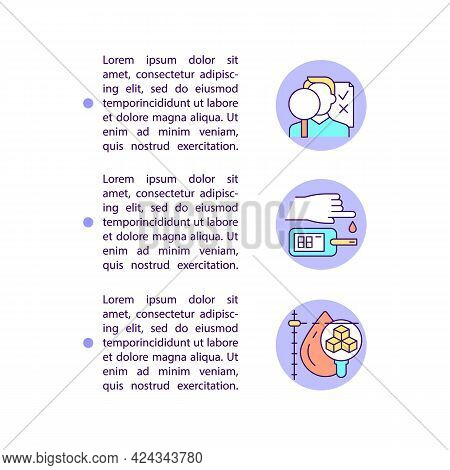 Diagnosing Diabetes Concept Line Icons With Text. Ppt Page Vector Template With Copy Space. Brochure