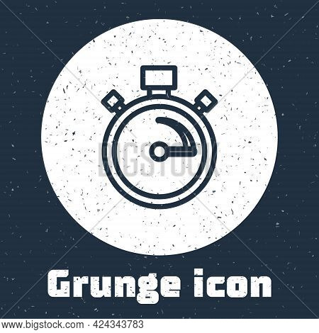 Grunge Line Stopwatch Icon Isolated On Grey Background. Time Timer Sign. Chronometer Sign. Monochrom
