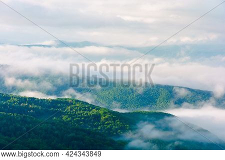 Summer Landscape On A Foggy Morning. Amazing Mountain View In The Distance. Scenic Outdoor Scenery.