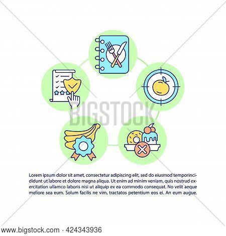 Keeping Food Diary Concept Line Icons With Text. Ppt Page Vector Template With Copy Space. Brochure,