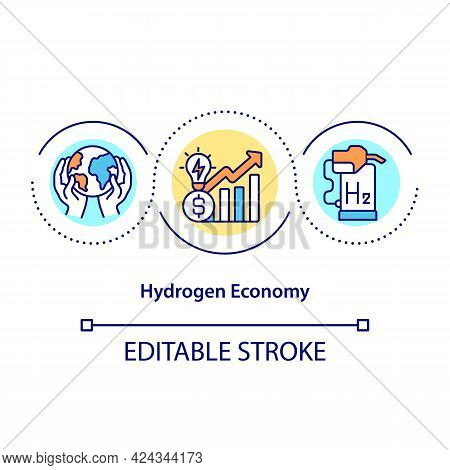 Hydrogen Economy Concept Icon. Ecological Use Of Fuel. Revolutionary Energy Source. Climate Change A