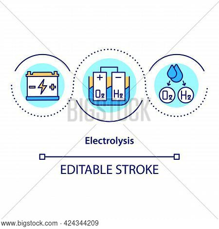 Electrolysis Concept Icon. Ionic Parts Decomposition. Natural Fuel Source. Revolutionary Energy Abst