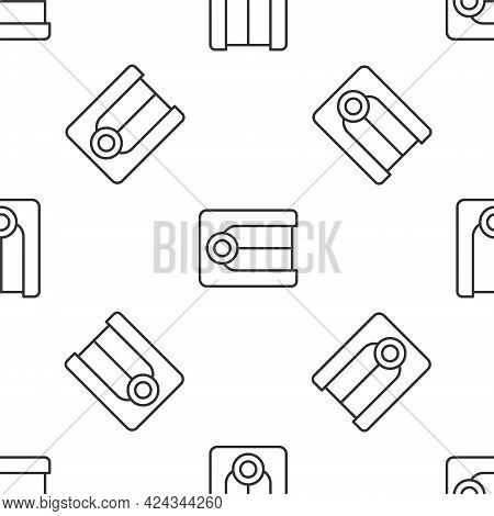 Grey Line Dentures Model Icon Isolated Seamless Pattern On White Background. Dental Concept. Vector