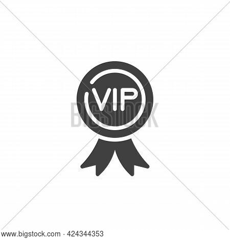 Vip Member Badge Vector Icon. Filled Flat Sign For Mobile Concept And Web Design. Vip Award Glyph Ic