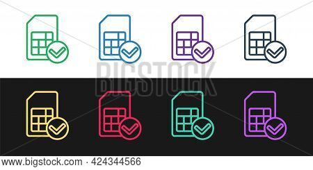 Set Line Sim Card Icon Isolated On Black And White Background. Mobile Cellular Phone Sim Card Chip.