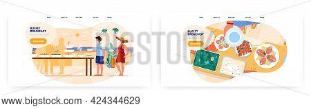 Buffet Breakfast Landing Page Design, Website Banner Vector Template Set. Hotel, Resort Restaurant C