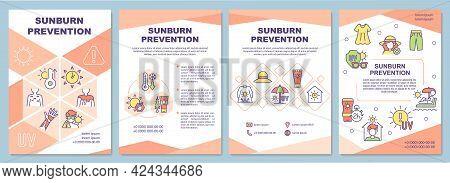 Sunburn Prevention Brochure Template. Skin Protection From Sun. Flyer, Booklet, Leaflet Print, Cover