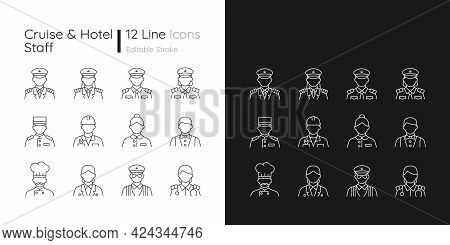 Cruise And Hotel Staff Linear Icons Set For Dark And Light Mode. Proffesional Crew Controlling. Cust