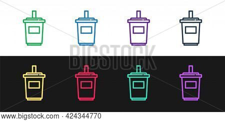 Set Line Paper Glass With Drinking Straw And Water Icon Isolated On Black And White Background. Soda