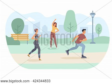Morning Sports In Park. Girl With Headphones Jogging. Guy On Roller Skates Rushes Merrily Along Trac