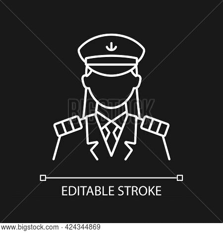 Female Captain White Linear Icon For Dark Theme. Main Person During Cruise. Comfortable Traveling. T