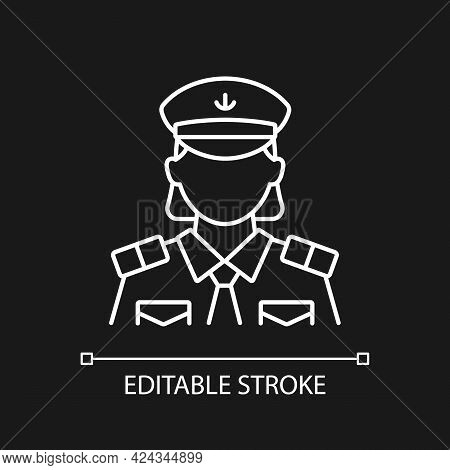 Female Chief Officer White Linear Icon For Dark Theme. Crew Member. Making Travel Comfortable. Thin