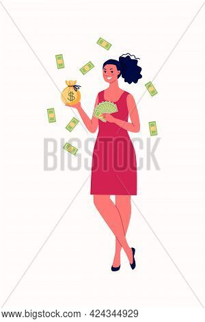 The Concept Of Financial Independence, Success, Winning, Luck. A Young Cheerful Woman Holds A Fan Wi