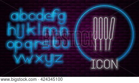 Glowing Neon Line Aroma Sticks, Incense, Aromas Icon Isolated On Brick Wall Background. Neon Light A
