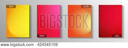 Dynamic Point Screen Tone Gradation Front Page Templates Vector Collection. Geometric Magazine Faded