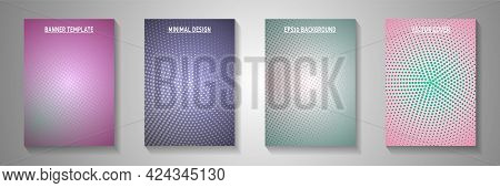 Abstract Circle Screen Tone Gradation Cover Page Templates Vector Kit. Corporate Booklet Faded Scree