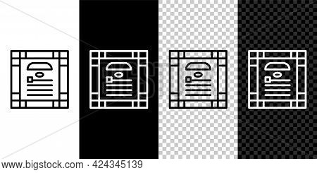 Set Line 26 November India Constitution Day Icon Isolated On Black And White Background. Vector