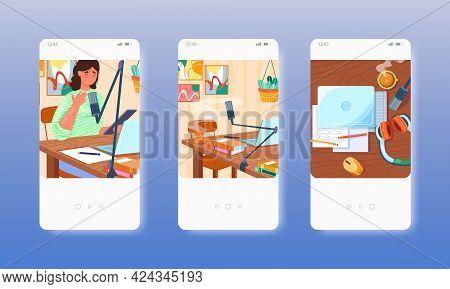 Woman With Microphone Recording Audio Podcast. Mobile App Screens, Vector Website Banner Template. U