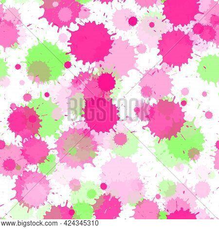 Graffiti Spray Transparent Stains Vector Seamless Wallpaper Pattern. Colored Ink Splatter, Spray Blo